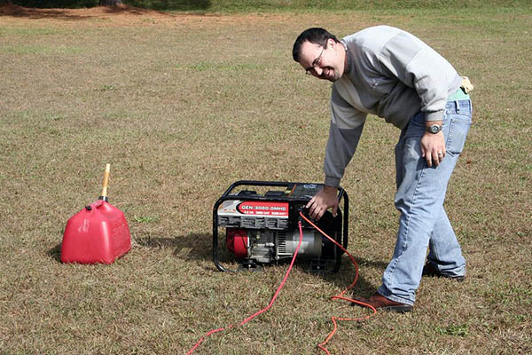 for safety: run space heater with generator outdoors
