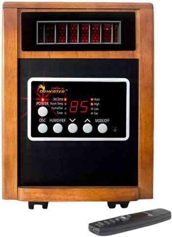 the dr heater infrared heater has built-in humidifier so it doesn't dry the air